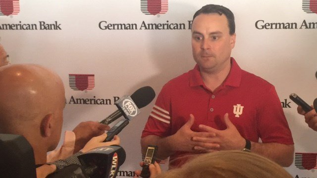 Basketball coach Archie Miller was one of three Indiana University coaches who drew nearly 1,000 fans to Hubers Wednesday.