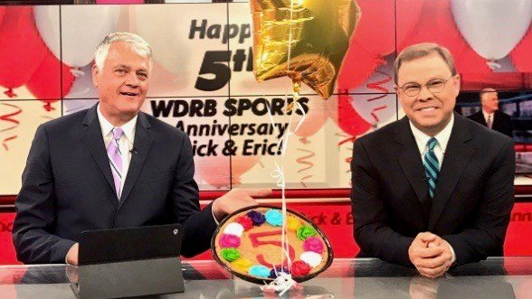 Rick Bozich and Eric Crawford on their Sports Page Live webcast (WDRB photo by Jen Keeney).