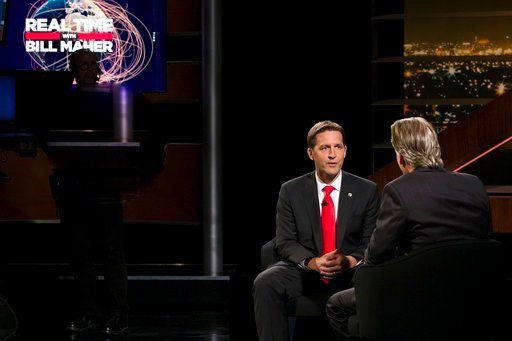 "(Janet Van Ham/HBO via AP). In this photo provided by HBO, Bill Maher, right, speaks with Sen. Ben Sasse, R-Neb, during a segment of his ""Real Time with Bill Maher,"" Friday, June 2, 2017."