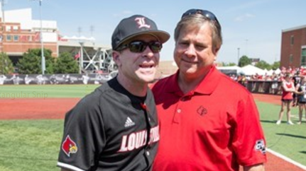 Louisville coach Dan McDonnell with athletic director Tom Jurich (Photo by Jeff Reinking, Louisville athletics)