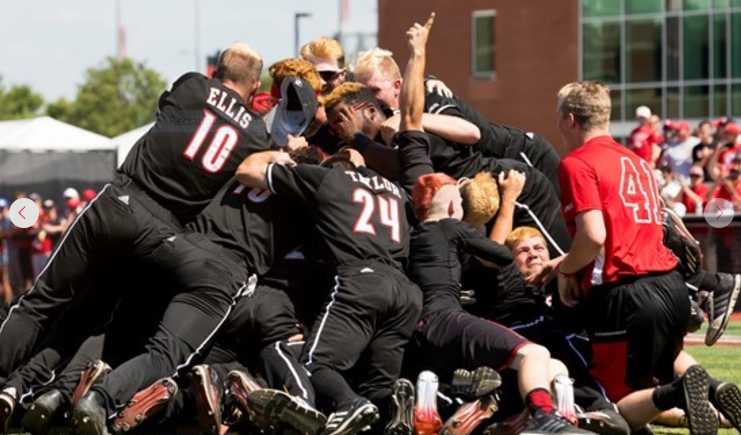 The Cardinals celebrate a trip to the College World Series (U of L Athletics photo by Adam Creech)