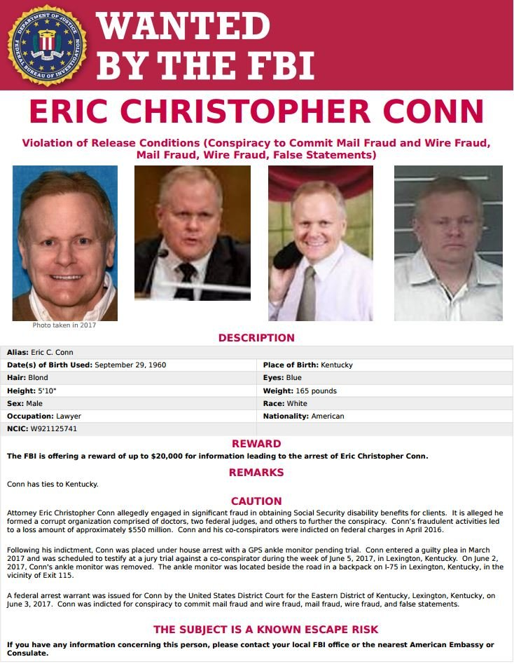 Eric Conn's wanted poster