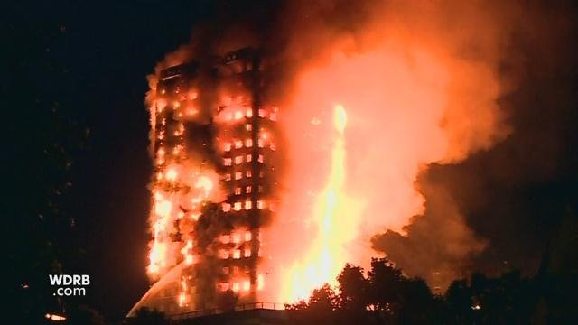 Giant fire engulfs 24-storey Grenfell Tower apartment block in London