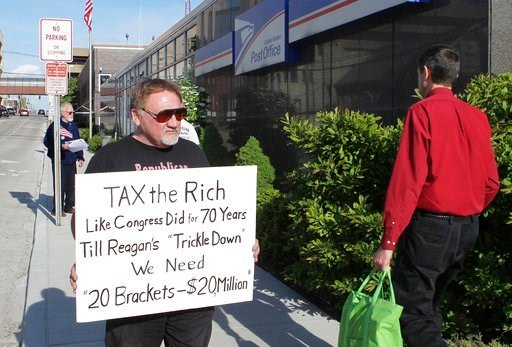 (Derik Holtmann/Belleville News-Democrat, via AP). FILE - In this April 17, 2012, photo, James Hodgkinson of Belleville protests outside of the United States Post Office in Downtown Belleville, Ill.