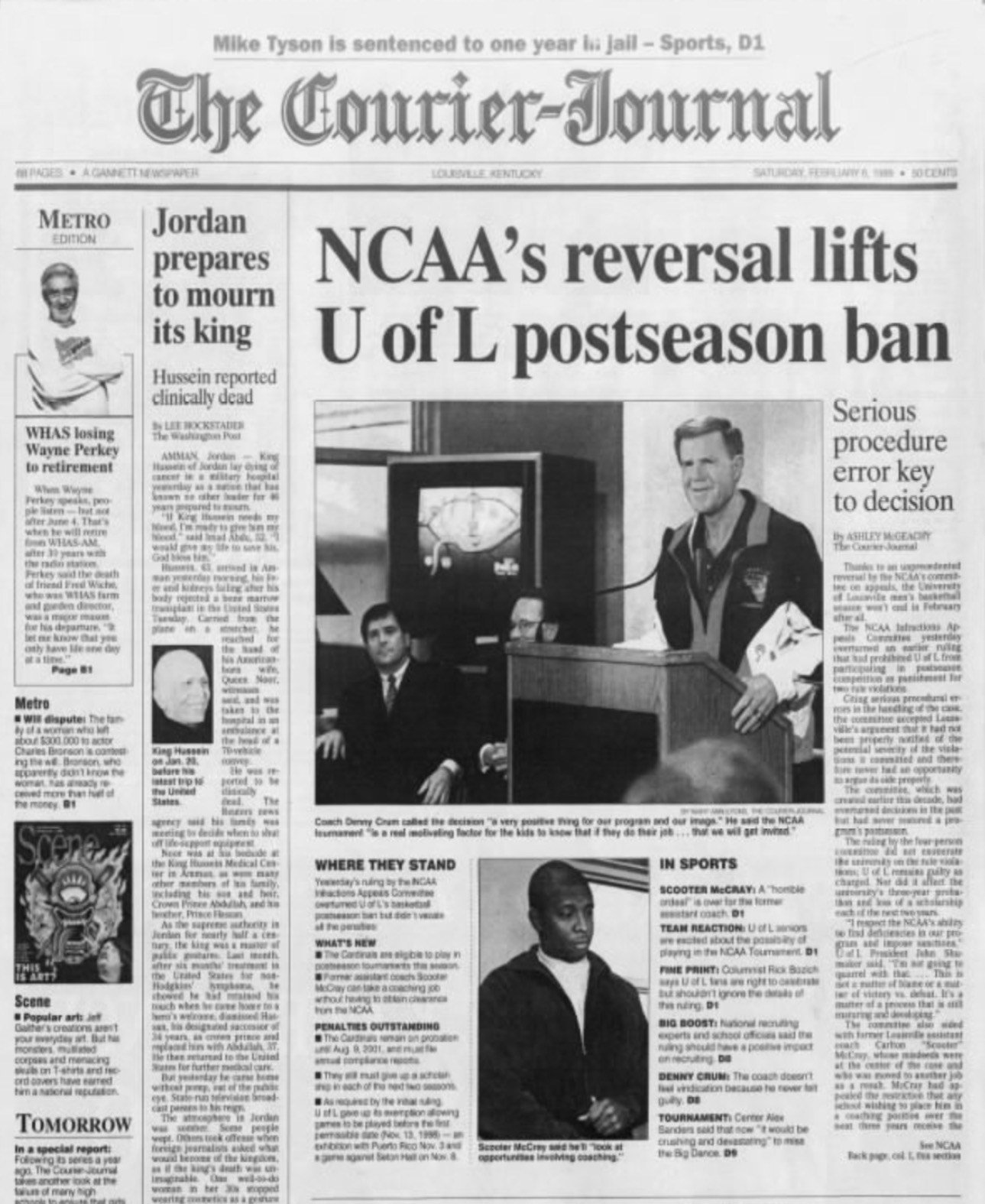 The Courier-Journal front page from Feb. 6, 1999, reporting Louisville's victory in an NCAA appeal. (Courier-Journal archive)