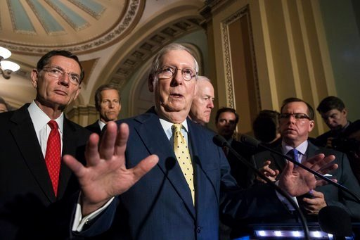 (AP Photo/J. Scott Applewhite). Senate Majority Leader Mitch McConnell, R-Ky., joined by, from left, Sen. John Barrasso, R-Wyo., Sen. John Thune, R-S.D., and Majority Whip John Cornyn, R-Texas, speaks following a closed-door strategy session.