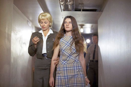 (AP Photo/George Brich, File). FILE - In this Feb. 24, 1970 file photo, Patricia Krenwinkel, a defendant in the Tate murder case, enters the superior court in Los Angeles for an arraignment.