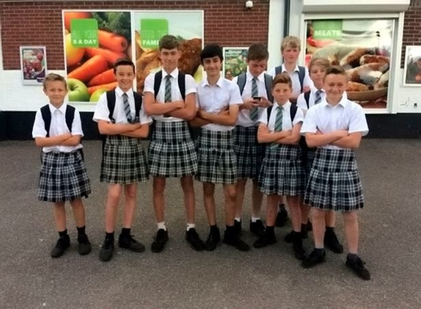 School boys wear skirts to protest dress code