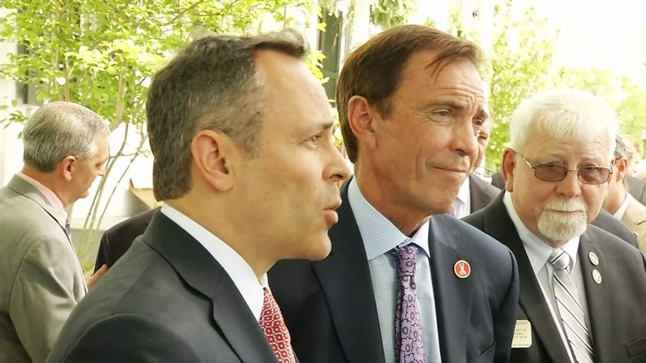 Gov. Matt Bevin, left, and Braidy Industries CEO Craig Bouchard announced that Braidy would build a $1.3 billion aluminum mill in Kentucky at an event on April 27, 2017.