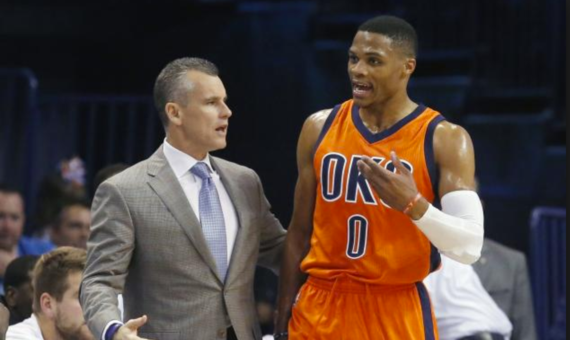 Billy Donovan (left with Russell Westbrook) has one more shot at glory with the Oklahoma City Thunder.