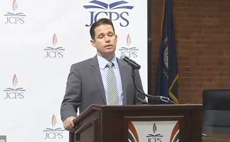 Acting JCPS superintendent Marty Pollio hold his first press conference on Monday, July 3, 2017.