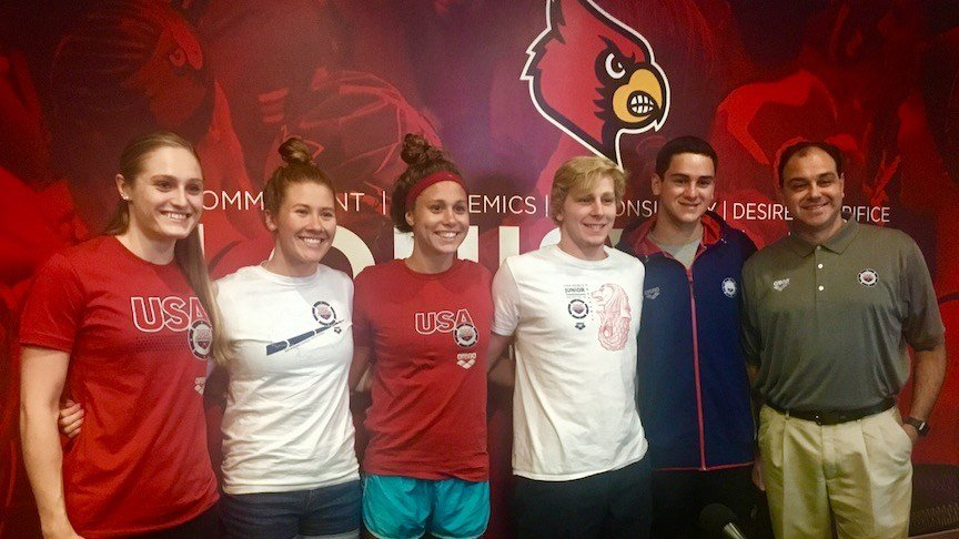 Louisville swimmers Kelsi Worrell, Andrea Cottrell, Mallory Comerford, Zach Harting, Alex Albiero and coach Arthur Albiero all are set for world championship competitions later this summer. (WDRB photo by Eric Crawford)