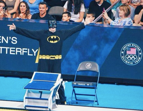 Louisville swimmer Alex Harting donned a Batman costume before the finals at the U.S. National Championships. (U of L photo)