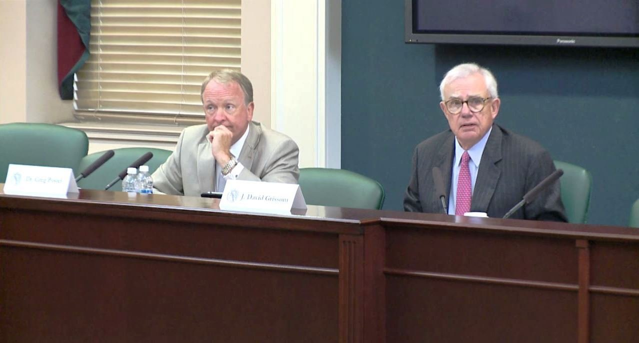 J. David Grissom, right, chairman of U of L's board of trustees, and interim U of L President Greg Postel at the June 15, 2017 board meeting.