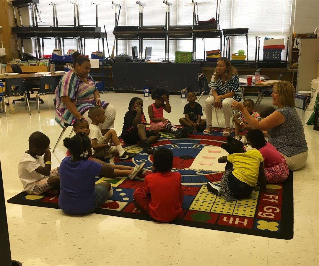 Incoming first grader students work with teachers at a summer program at Roosevelt Perry Elementary School last week (Photo by Toni Konz, WDRB News)