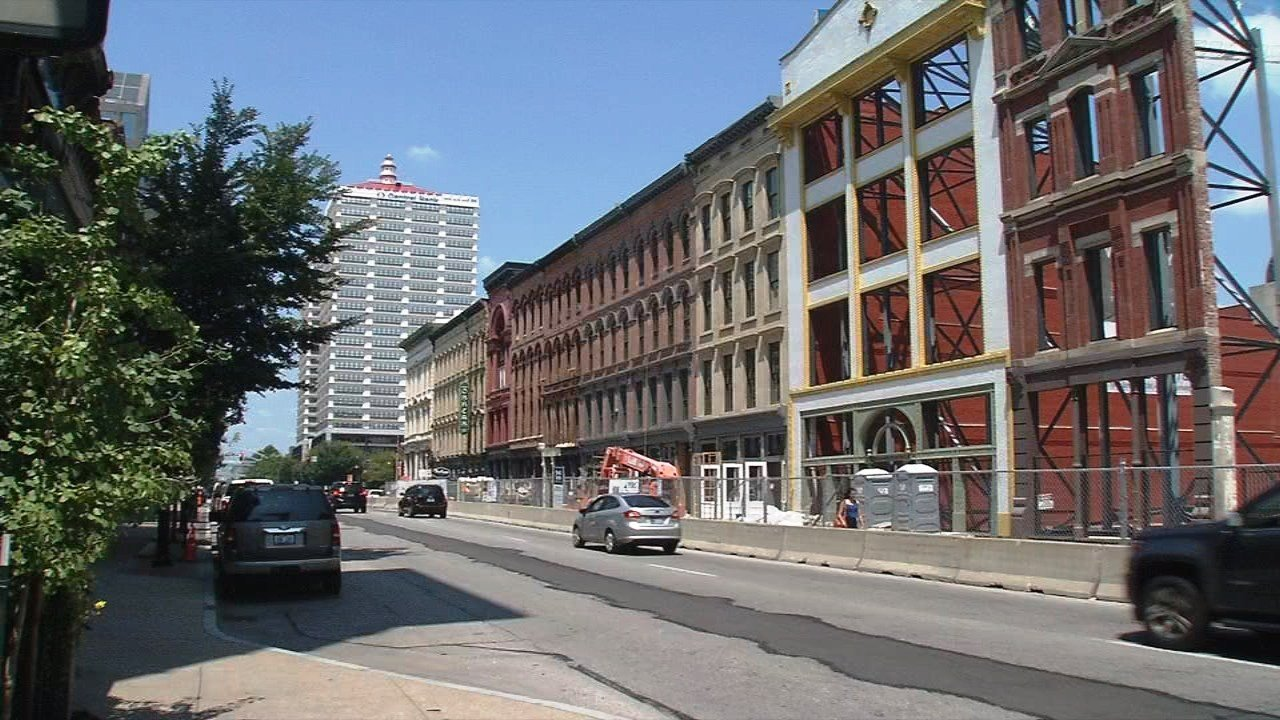Developers are nearing completion of the Whiskey Row project to rehabilitate warehouses that date to the late 1800s.