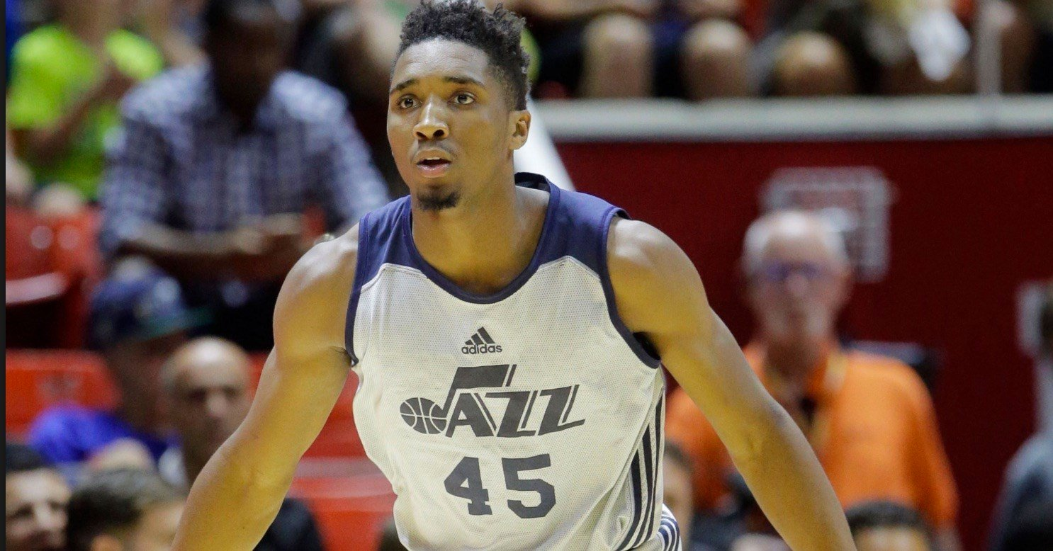 Former U of L guard Donovan Mitchell excelled for the Utah Jazz  NBA Summer League team in two locations. (AP Photo.)