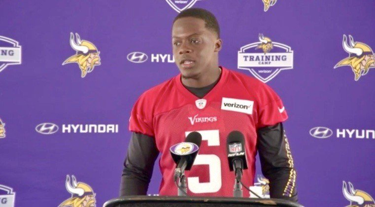 Teddy Bridgewater speaks with reporters at the Vikings' training complex.