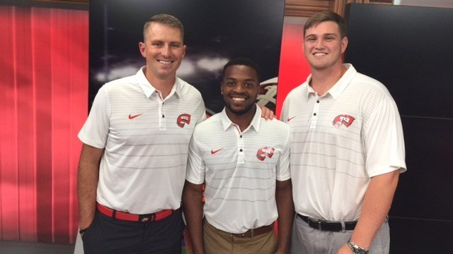 WKU coach Mike Sanford (from left) visited WDRB with Joe Brown and Matt Nord.