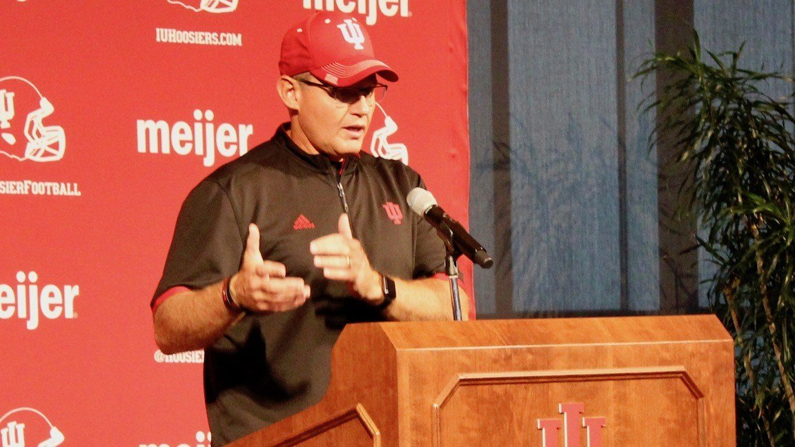 Indiana coach Tom Allen speaks at Media Day in Bloomington. (WDRB photo by Eric Crawford)