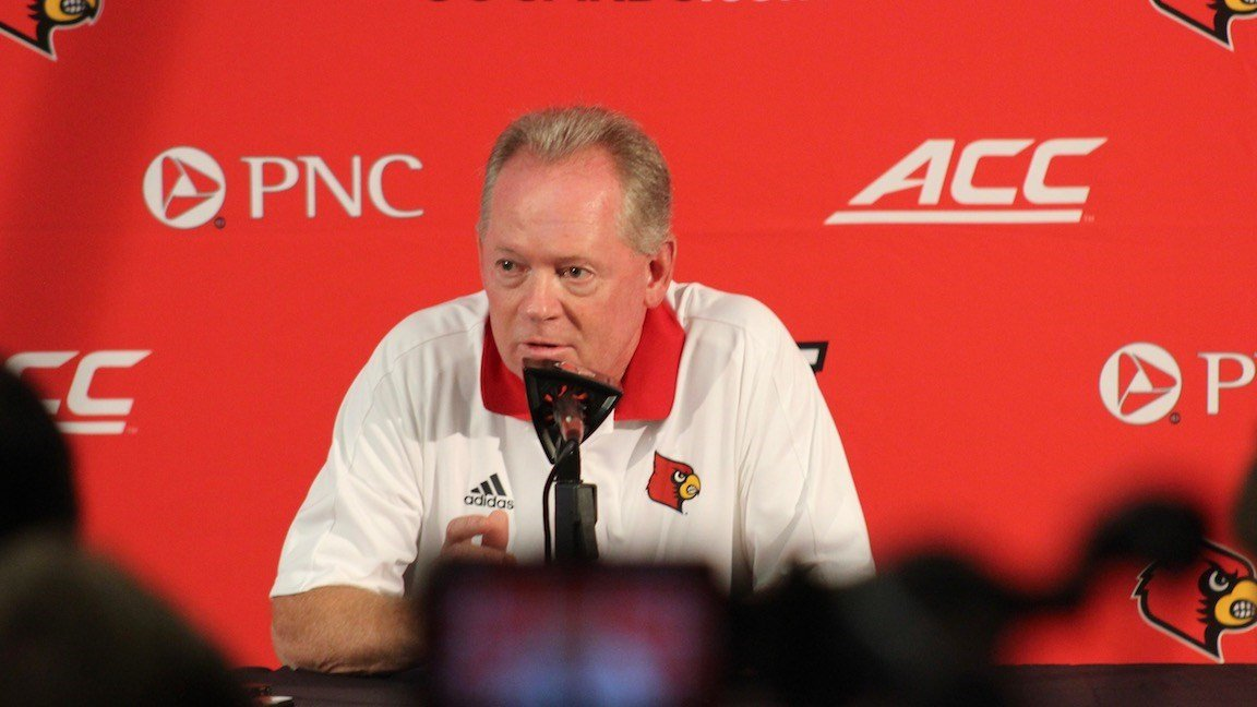 Louisville coach Bobby Petrino speaks at the team's 2017 Media Day. (WDRB photo by Eric Crawford)