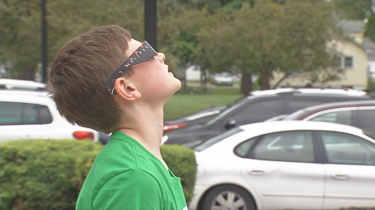 "Sixth grader Nathan Samsel said he's excited to see the ""rare"" solar eclipse in two weeks."