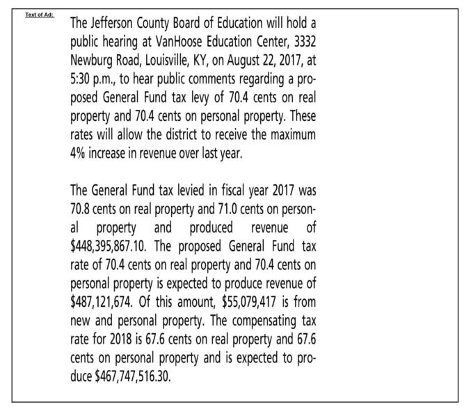 Copy of the JCPS tax rate that will run in The Courier-Journal on Aug. 12 and 13, 2017. (Source: JCPS)