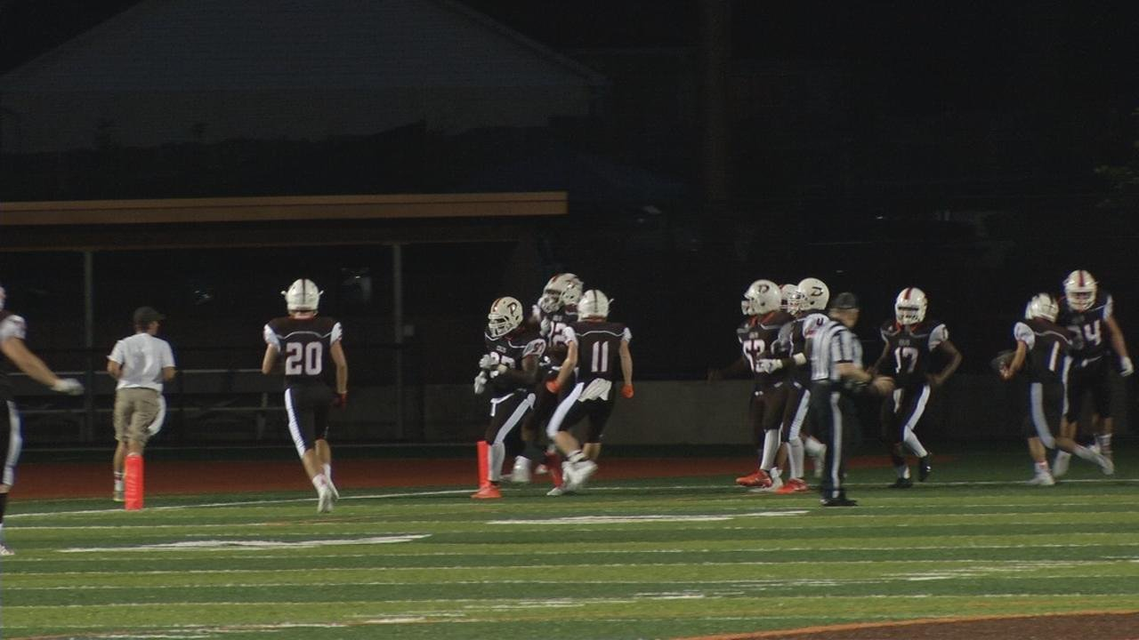 DeSales sacked Ballard quarterback Terrence May, who fumbled. The ball was picked up by DeSales' Santonio Hickman, who returned it for a touchdown.