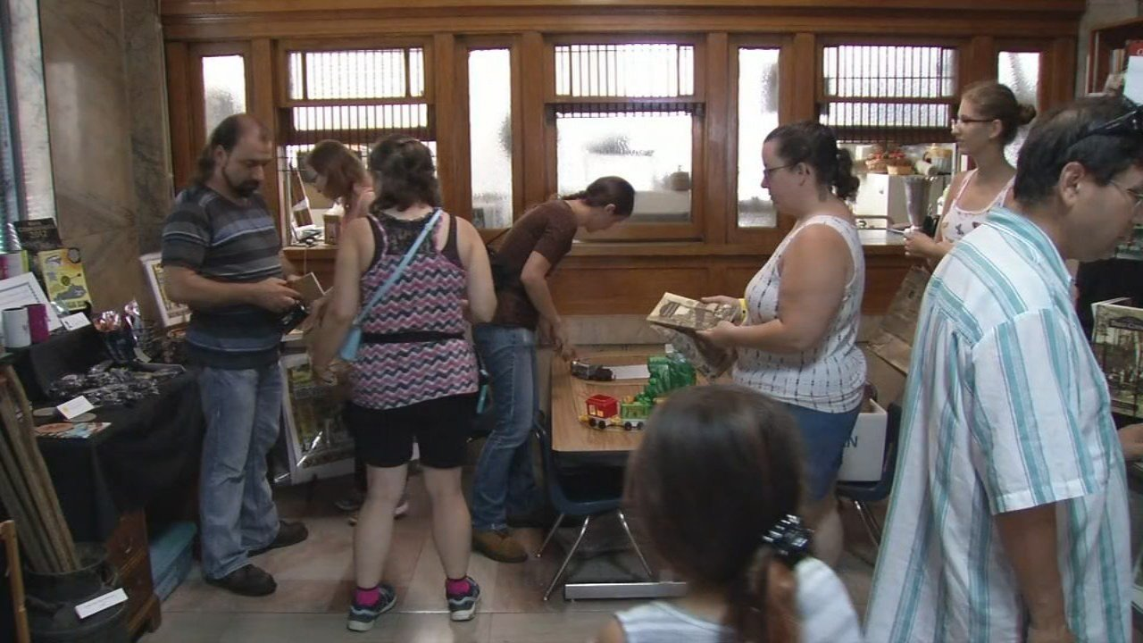 Visitors check out the museum in Hopkinsville hoping to find eclipse souvenirs.