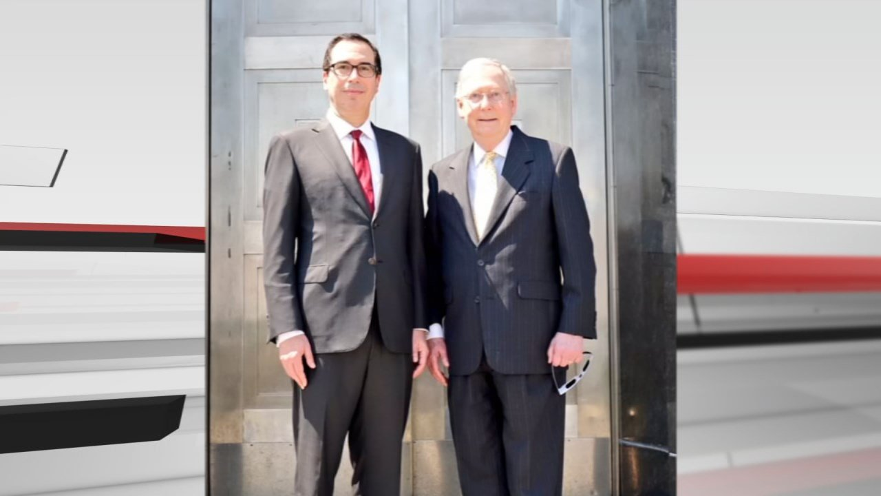 U.S. Treasury Secretary Steve Mnuchin and Senate Majority Leader Mitch McConnell