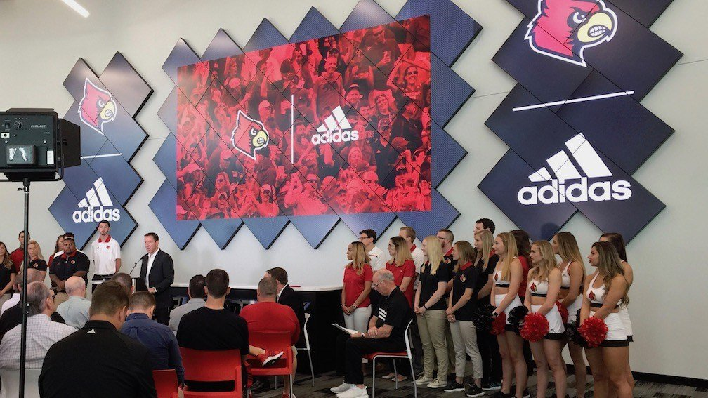 Chris McGuire, adidas director of national marketing, speaks to a group at U of L (WDRB photo by Eric Crawford)