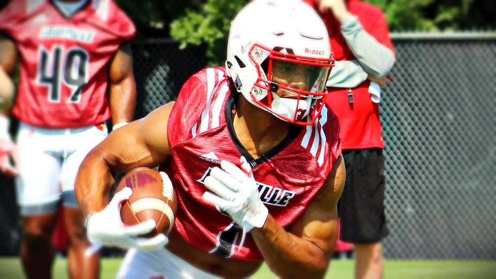 Reggie Bonnafon works out at running back. (WDRB photo by Eric Crawford)
