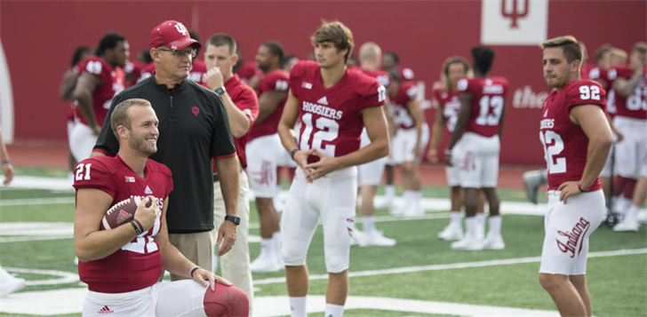 New Indiana football coach Tom Allen will need improved play from quarterback Richard Lagow (21). (AP Photo.)