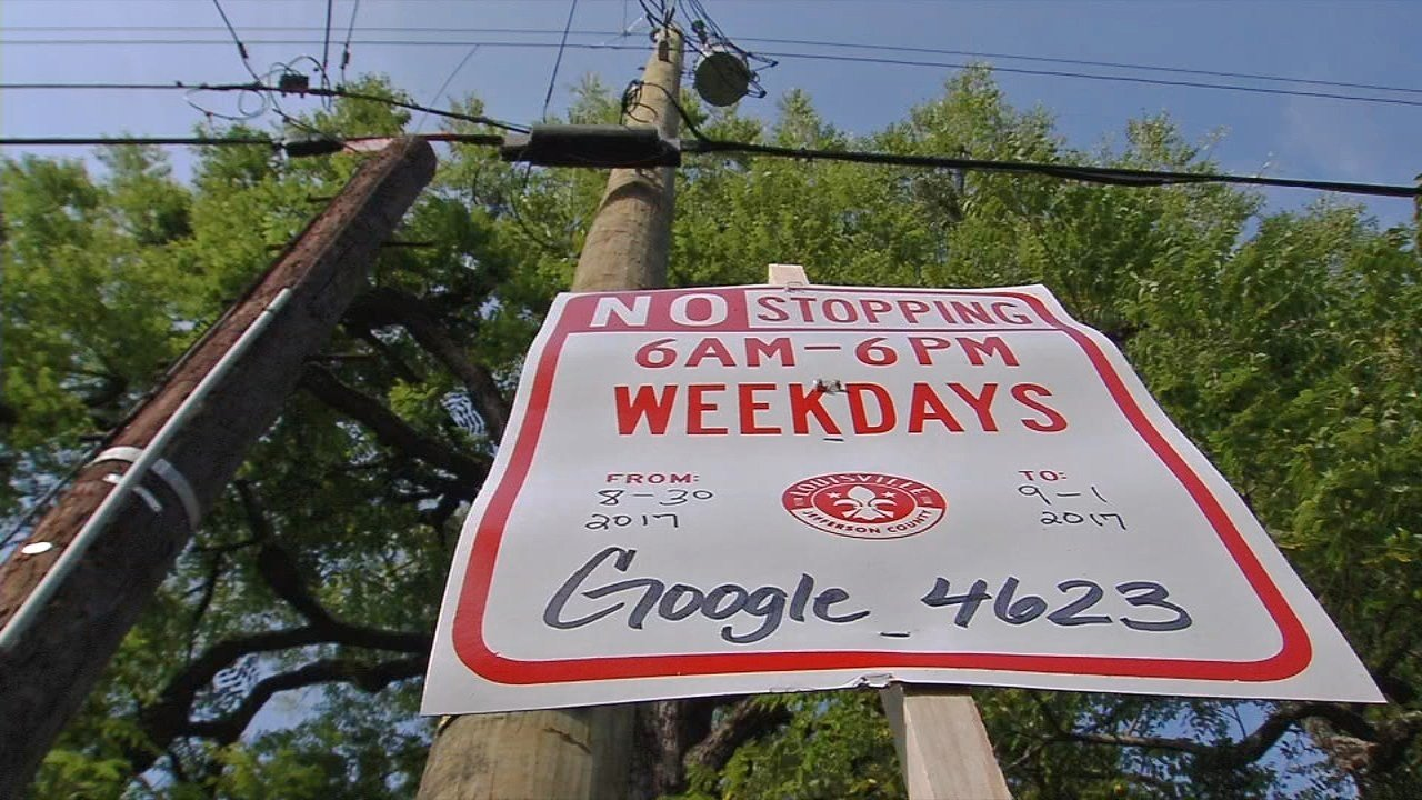 A sign in the Gardiner Lane area on Wednesday