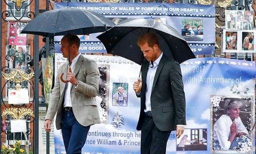 Princes William and Harry outside Kensington Palace