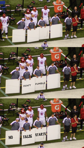 Sideline play cards (photoshop by Eric Crawford) told the story.