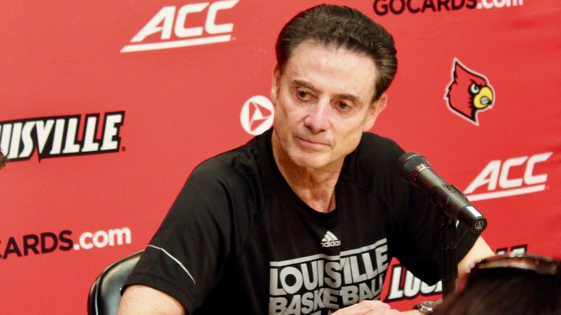 RIck Pitino speaks to reporters at a news conference on Sept. 7, 2017. (WDRB photo by Eric Crawford)
