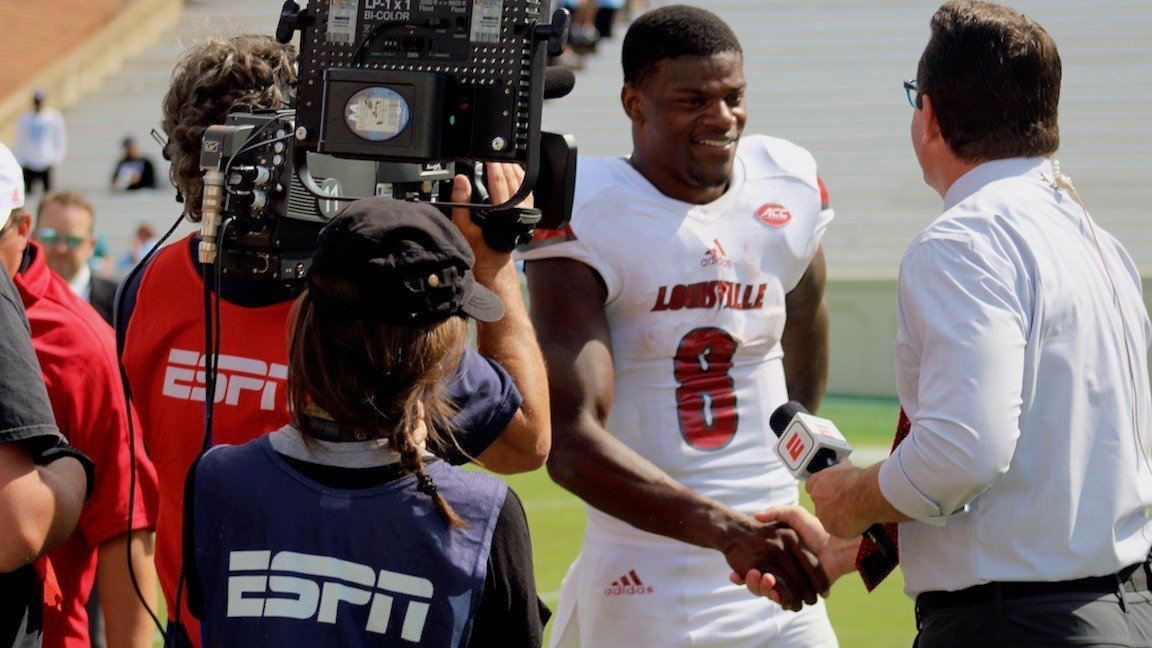 Lamar Jackson speaks with ESPN after the game (WDRB photo by Eric Crawford)