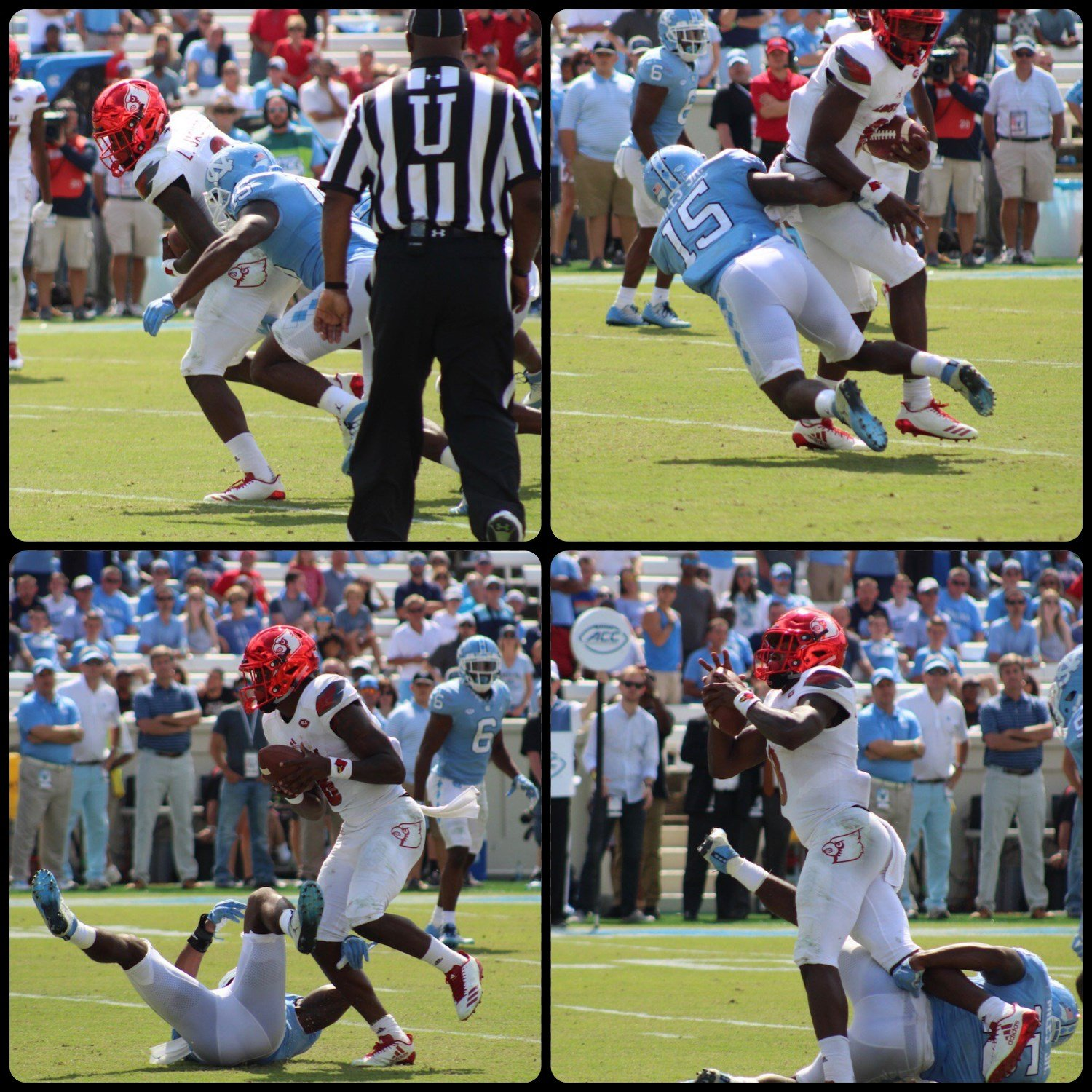A four-photo sequence on Jackson's final twist, just before diving into the end zone, shows the frustration involved in tackling Lamar Jackson. (WDRB photos by Eric Crawford)