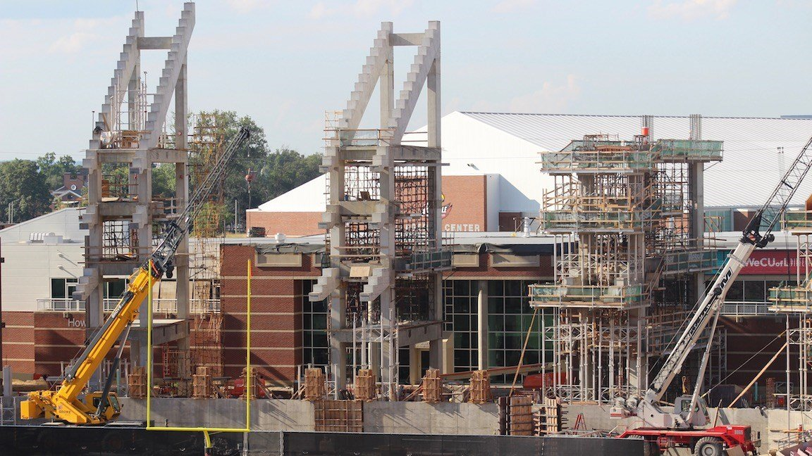 Papa John's Cardinal Stadium construction in August, 2017. (WDRB photo by Eric Crawford)