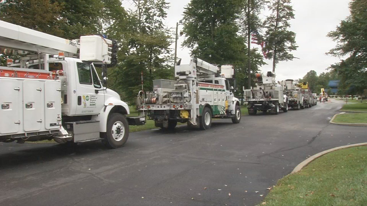 Utility trucks heading to respond to Hurricane Irma.