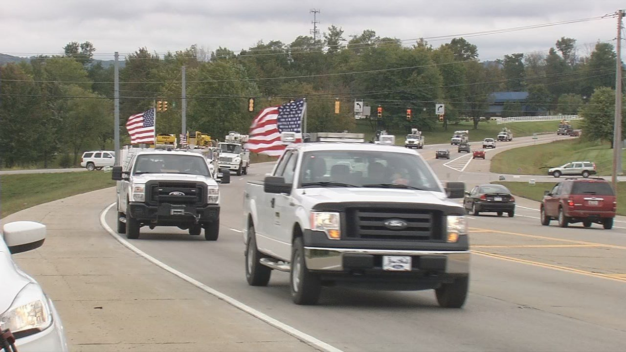 Utility trucks heading to respond to Hurricane Irma.