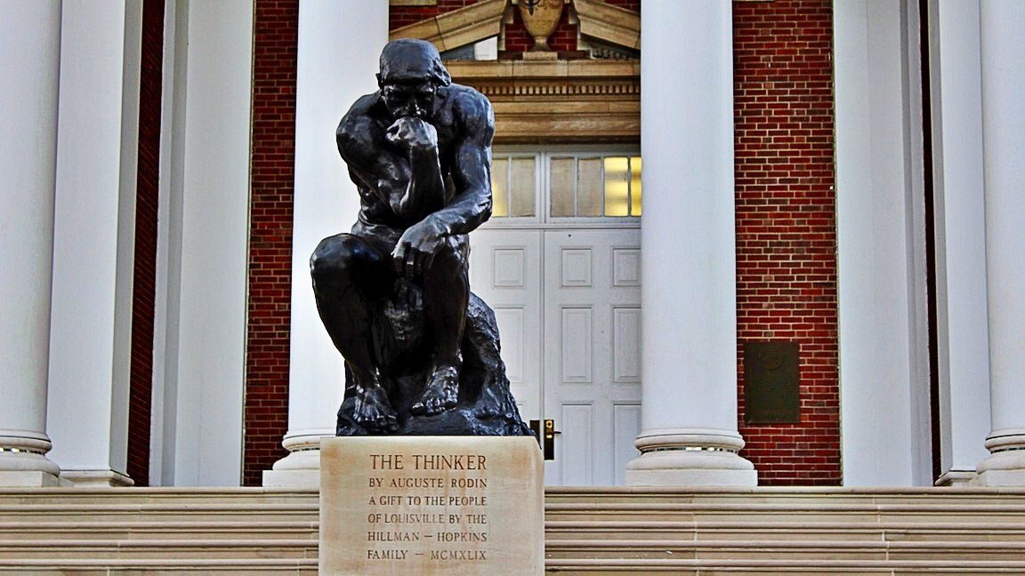 The Thinker will provide a backdrop for College GameDay on Saturday. (WDRB photo by Eric Crawford)