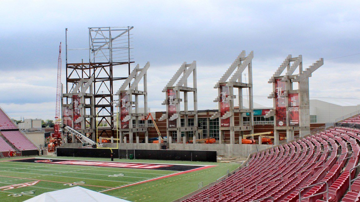 Construction on Papa John's Cardinal Stadium on August 12, 2017 (WDRB photo by Eric Crawford)