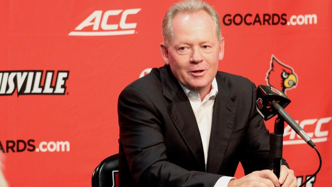 Louisville football coach Bobby Petrino discussed his team's loss to Clemson and the week ahead on Monday. (Eric Crawford photo.)