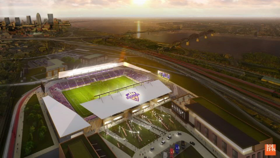 A rendering of the proposed stadium for Louisville City FC in Butchertown