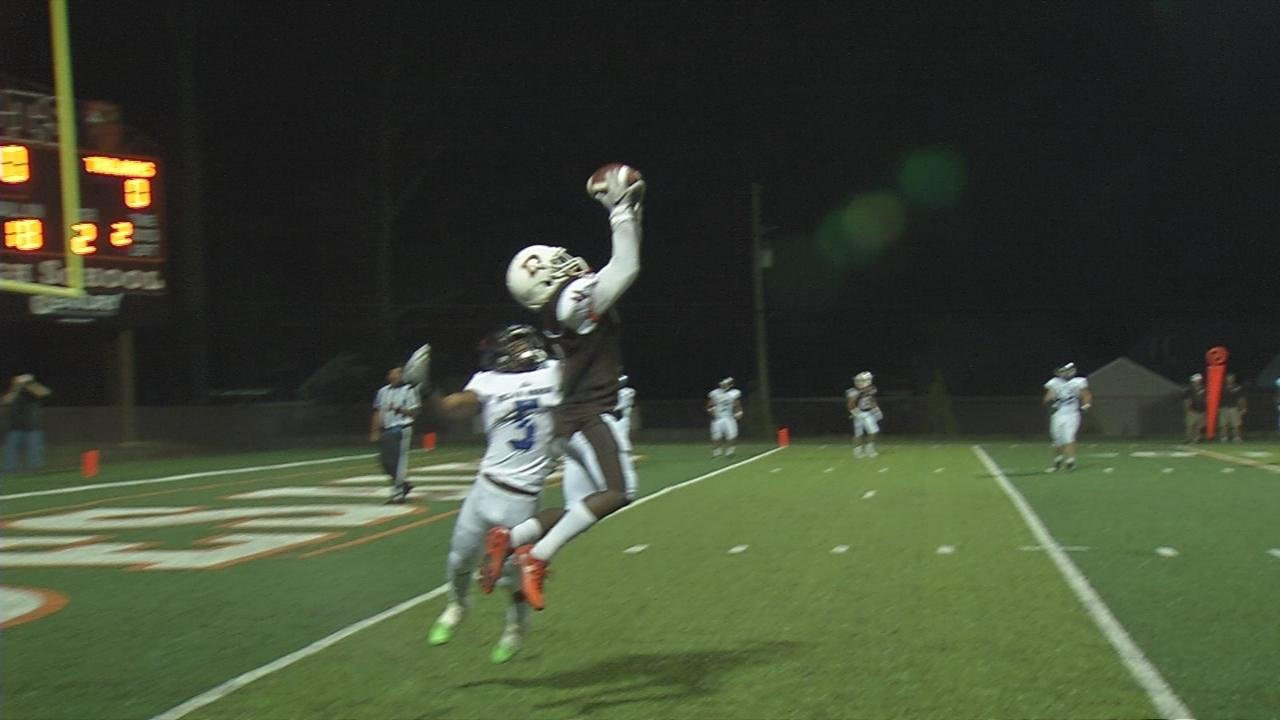 DeSales' Aaron Pfaadt rolls out and finds Larontay Standard who goes high for the catch.
