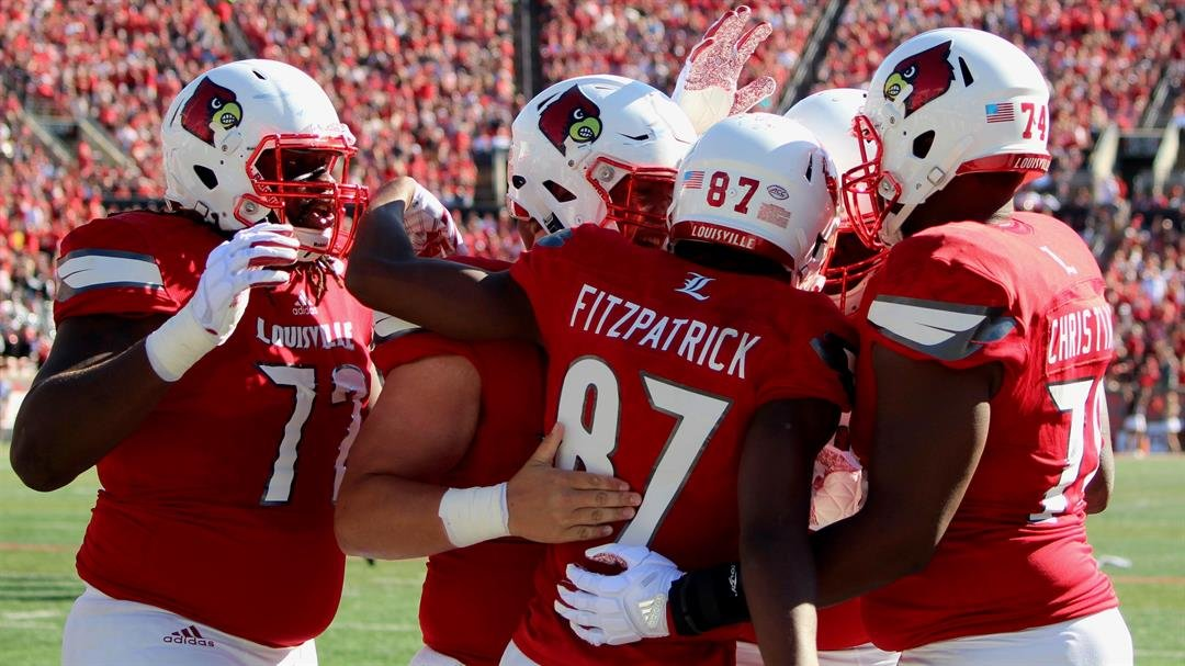 Dez Fitzpatrick celebrated one of his two touchdown receptions against Murray State Saturday. (Eric Crawford photo)