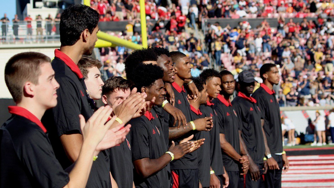 Louisville's basketball team is introduced to the crowd on Saturday at Papa John's Cardinal Stadium. (WDRB photo by Eric Crawford)