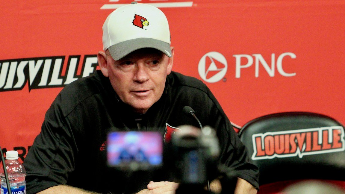 Bobby Petrino after Louisville's win over Murray State Saturday. (WDRB photo by Eric Crawford)